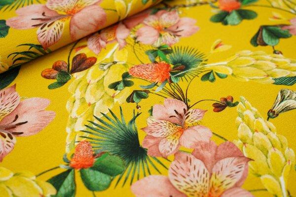 Baumwoll-Jersey Digitaldruck bunte Blumen Farne Blätter Pflanzen auf senfgelb