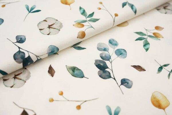 Digitaldruck Baumwoll-Jersey Aquarell Blätter und Beeren cremeweiß / grün / blau