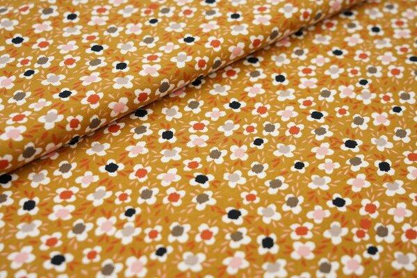 Baumwoll-Jersey Blumen senf ocker / weiß / grau / schwarz / lachs