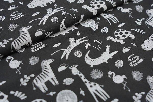 Baumwolle Tiere Giraffe Zebra Löwe Krokodil Flamingo auf schwarz