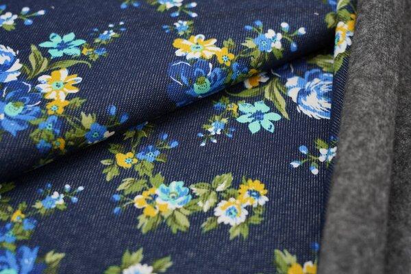 Kuscheliger Alpenfleece in Jeans-Optik kleine Blumen auf jeansblau Kuschelsweat
