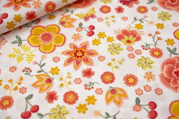 Baumwolle Blumen Schmetterlinge Kirschen weiß / senf / koralle / mintgrün