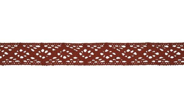 Baumwolle Spitzenborte Häkelborte uni rostrot orange 20 mm breit Klöppelspitze