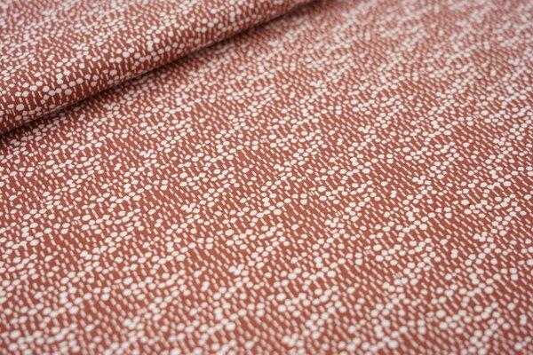 Baumwoll-Jersey Retro-Muster Striche / Punkte in rotbraun / weiß