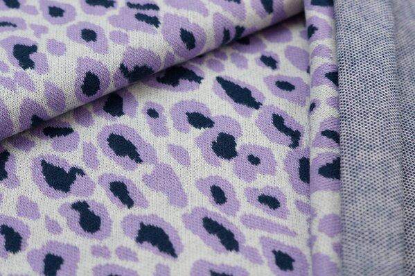 Jacquard-Sweat Ben mit Leoparden Design off white / hell lila / navy blau