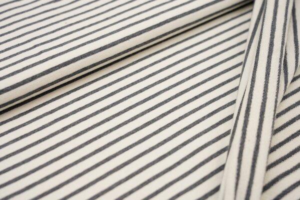 XXL Baumwollsweat Maya Melange Streifen mittel dunkelgrau melange und off white