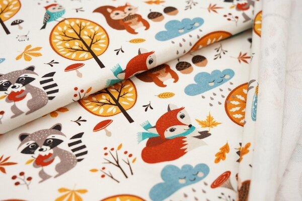Baumwoll-Sweat Herbst Waldtiere Fuchs Igel Waschbär Hase auf off white Pilze Bäume
