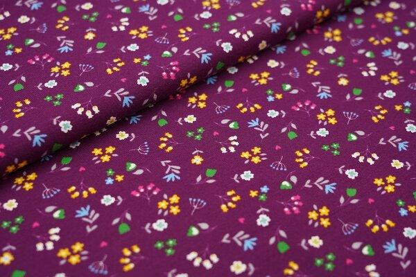 Baumwoll-Jersey bunte Blumen Pflanzen auf aubergine lila