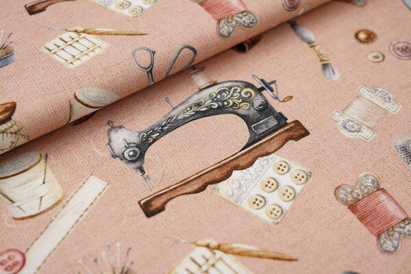 Digitaldruck Canvas-Stoff Dekostoff Nähzubehör auf lachs Garn Knöpfe Schere Nähmaschine