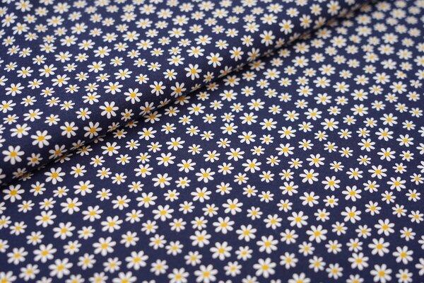 Baumwoll-Jersey Blumen in weiß / gelb auf dunkelblau