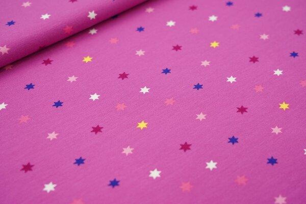 Baumwoll-Jersey bunte Sterne auf violett lila