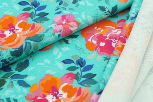 XXL Baumwoll-Sweat mit Digitaldruck Rosen Blumen auf türkis