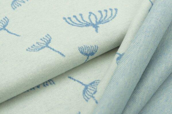 Jacquard-Sweat Mia pastell jeansblau Melange Pusteblumen auf off white
