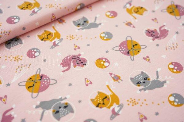 Baumwoll-Jersey Katzen im Weltall Planeten Raketen Sterne auf rosa