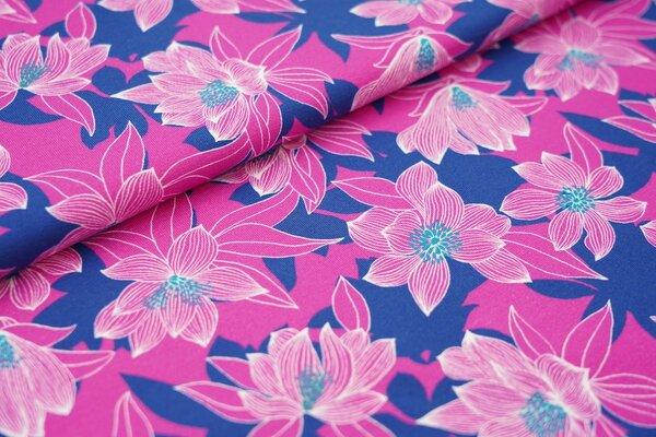 Baumwoll-Jersey Swafing Tropical Forest Blumen Blätter pink auf blau
