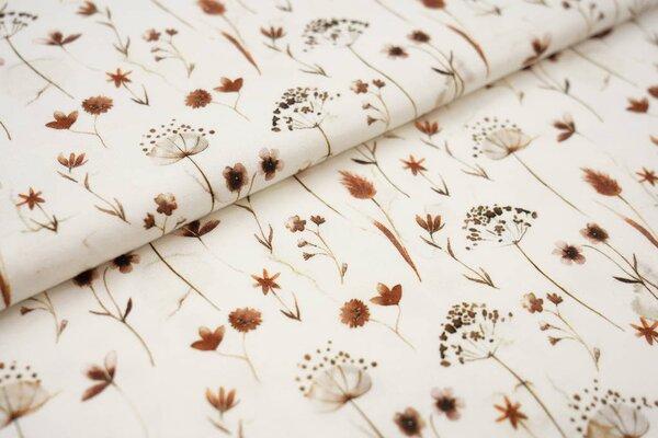 Digitaldruck Baumwoll-Jersey Aquarell Blumen Pflanzen Gräser cremeweiß / braun