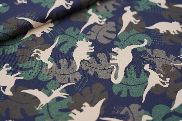 Baumwoll-Jersey Dinosaurier Silhouetten und Palmenblätter auf dunkelblau