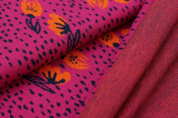 Jacquard-Sweat Ben mit kleinen Blumen und Punkten amarant pink navy blau orange