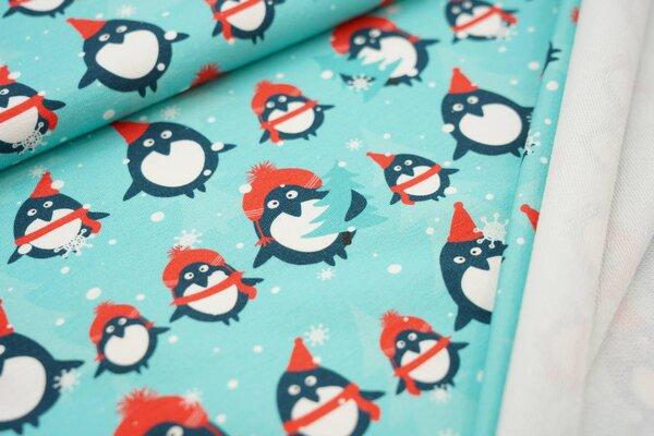 Baumwoll-Sweat Digitaldruck Pinguine mit Weihnachtsbäumen Schnee türkis