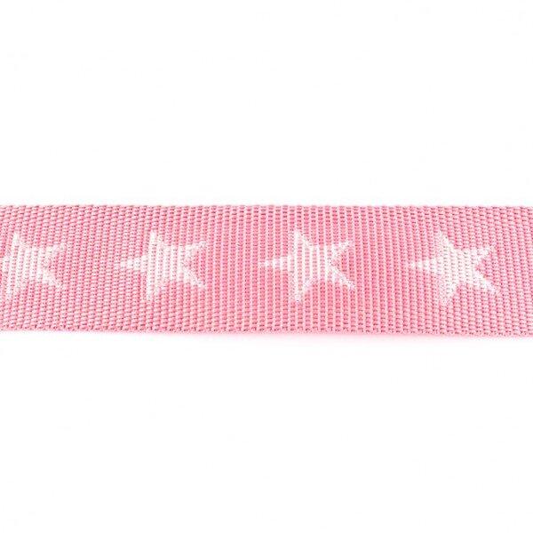 Breites Gurtband mit Sternen rosa / weiß 40 mm