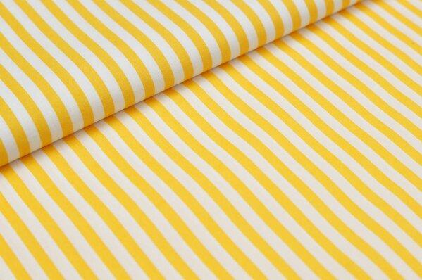 Baumwollstoff Baumwolle Streifen gelb / weiß