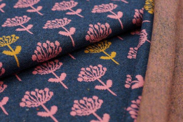 Jacquard-Sweat Mia koralle und senf Blumen auf navy blau melange