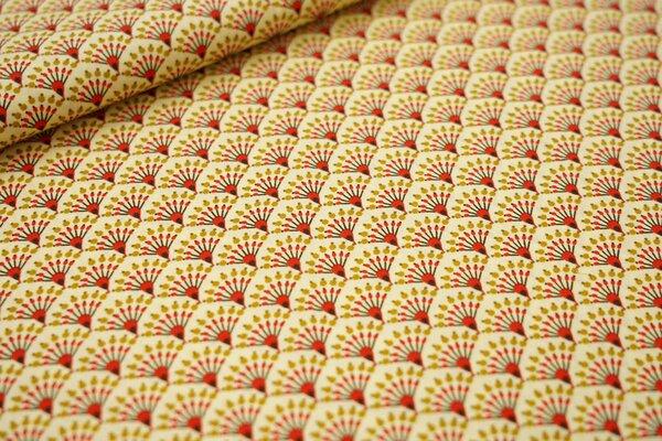 Baumwollstoff Fächer Muster auf hellgelb