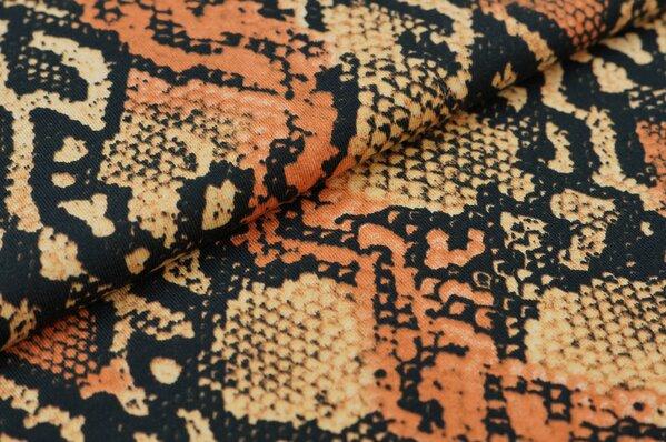 Baumwoll-Jerseystoff Schlangenhaut Muster schwarz / rostorange / beige
