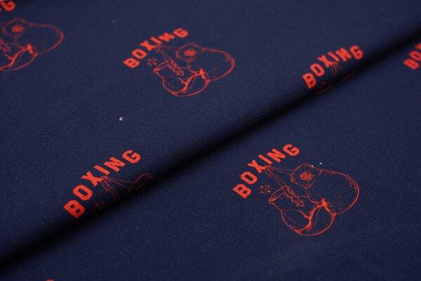 Baumwoll-Jersey Digitaldruck rote Boxhandschuhe auf dunkelblau Boxing