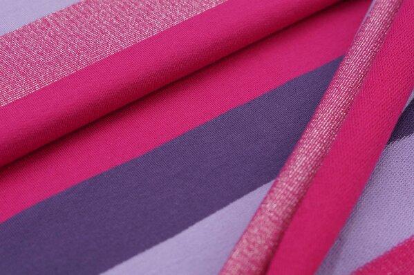 Sweat Marie Blockstreifen silber Lurex Glitzer amarant pink / lila / hell lila