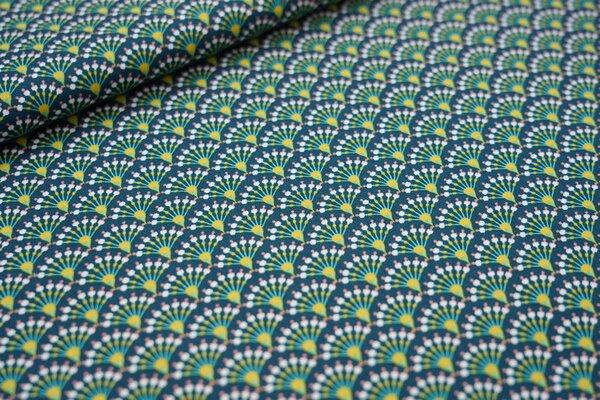 Baumwollstoff Fächer Muster auf dunkelgrün