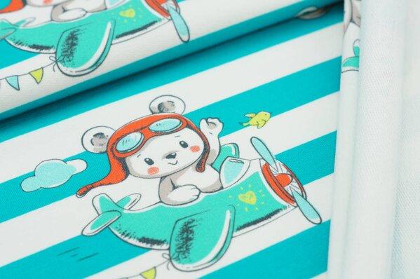 Baumwoll-Sweat Digitaldruck Teddybär Flugzeug Streifen petrol light / off white