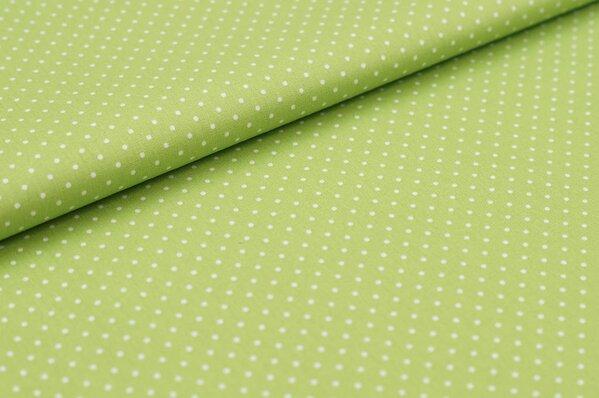 Baumwollstoff Baumwolle hellgrün mit kleinen weißen Punkten