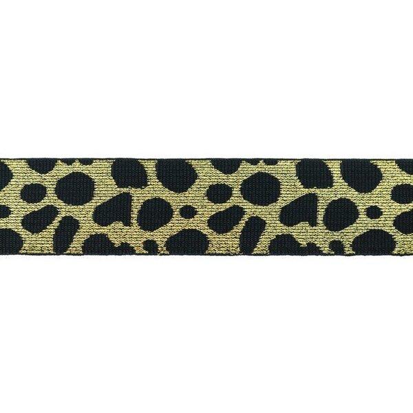 Breites Gummiband Leopard dunkelblau mit Glitzer in gold 40 mm