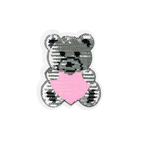 Applikation Teddybär mit Herz silber pink rosa Aufnäher mit Wendepailletten