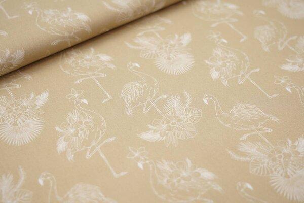 Baumwollstoff Flamingos und Palmenblätter sand beige / weiß