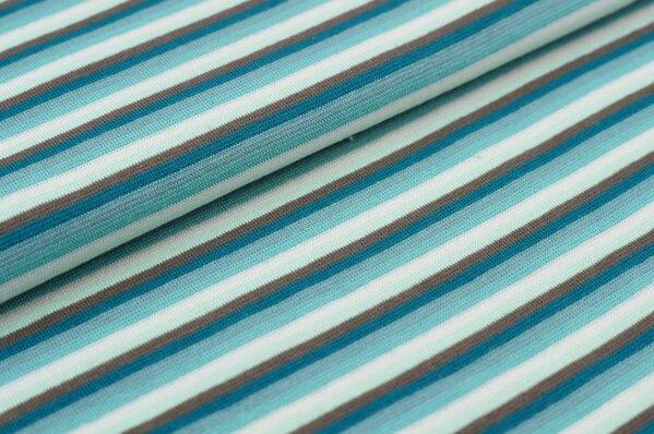 Ringelbündchen bunte Streifen petrol / braun / mint / off white / eisblau