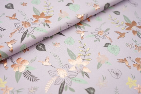 Baumwoll-Jersey Kolibri Vogel Blumen Blätter mit kupferfarbenem Aufdruck auf flieder lila