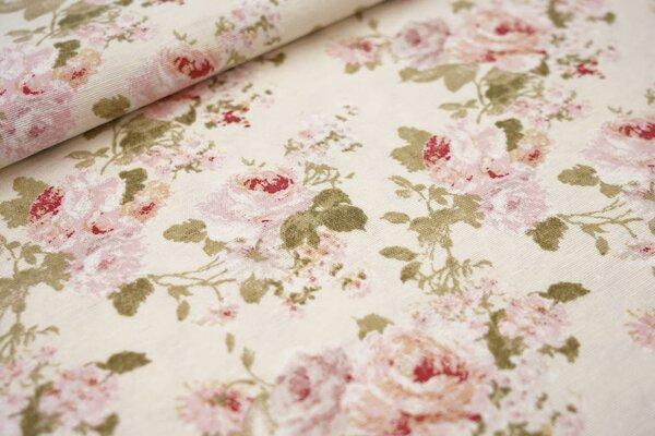 Dekostoff in Leinenoptik hellgelb kleine Rosen Blumen rosa / rot / grün