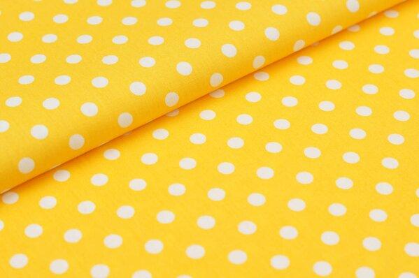 Baumwollstoff Baumwolle große Punkte gelb / weiß