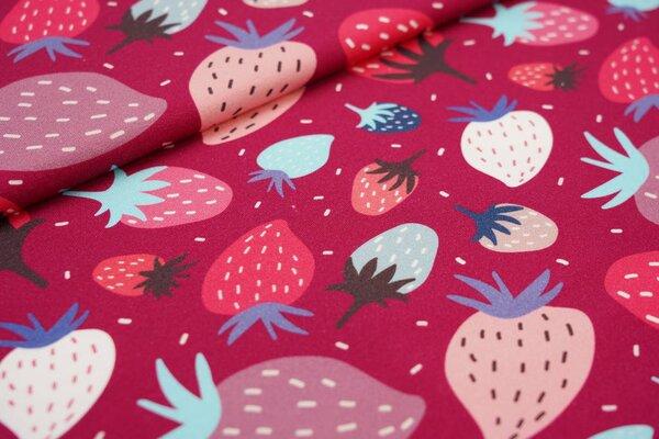 Traumbeere Baumwoll-Jersey Digitaldruck große Erdbeeren beere / hellblau / pink / altrosa