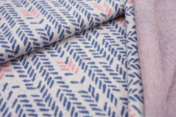 Jacquard-Jersey Blätter Muster Ähren off white / taupe blau / koralle