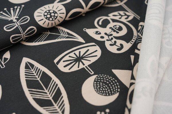 Baumwoll-Sweat große abstrakte Tiere und Pflanzen schwarz / beige Maus Vogel