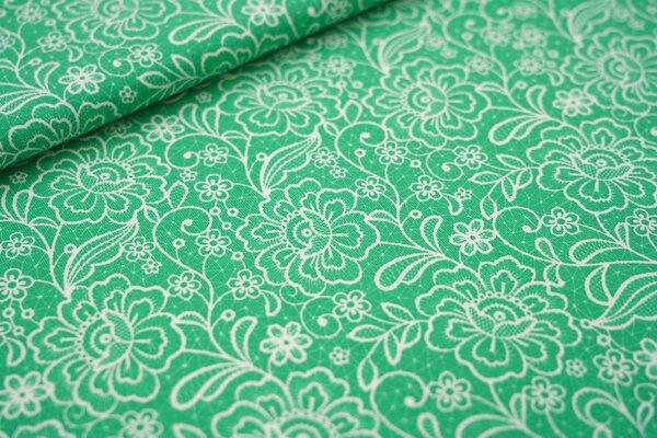 Baumwoll-Jersey weißes Blumen-Muster auf grün