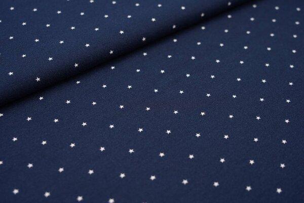 Baumwoll-Jersey maritime weiße Sterne auf dunkelblau