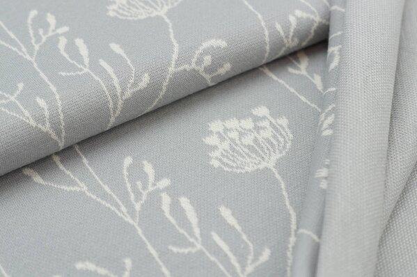 Jacquard-Sweat Ben lange off white Blumen auf hellgrau