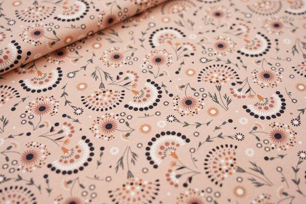 Baumwoll-Jersey Fächerblumen pastell lachs / orange / grün / weiß