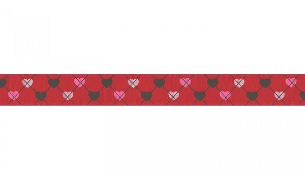 Webband Herzen auf Karo Muster rot 25 mm Zierband Dekoband