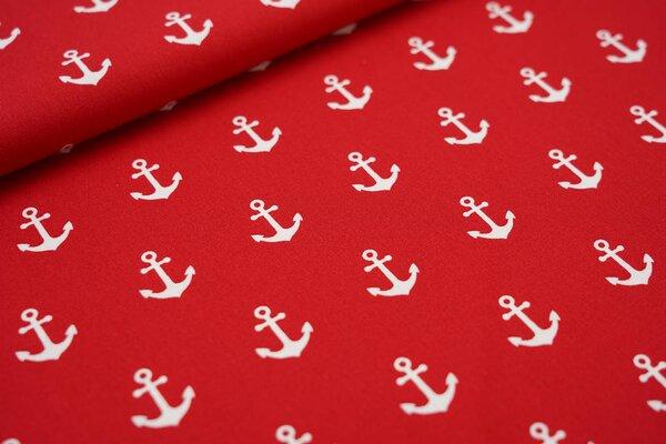 Baumwollstoff Anker in creme auf rot maritim