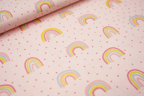 Baumwolle Glitzer Regenbögen und Punkte rosa / koralle Regenbogen